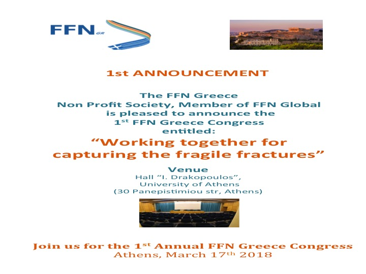 """1st Annual Fragility Fracture Network (FFN) Greece Congress focused on: """"Working together to capture the fracture"""""""